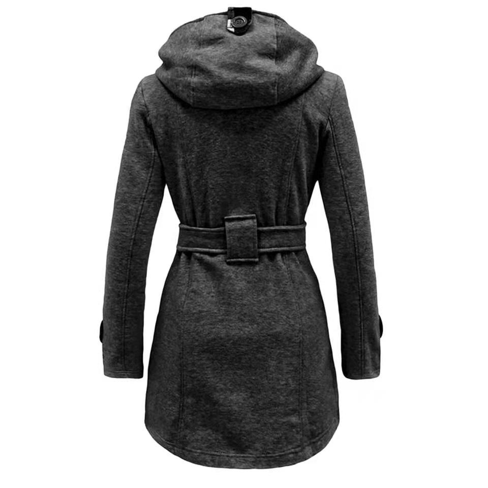 Осенне-зимнее шерстяное двубортное длинное пальто с длинным рукавом, Женская клетчатая куртка с капюшоном, модное облегающее пальто E8753
