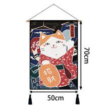 Японский гобелен с котом, Настенное подвесное одеяло, милый мультяшный каваи, гобелен с животными, дверь, окно, гобелен, украшение для гостин...(Китай)