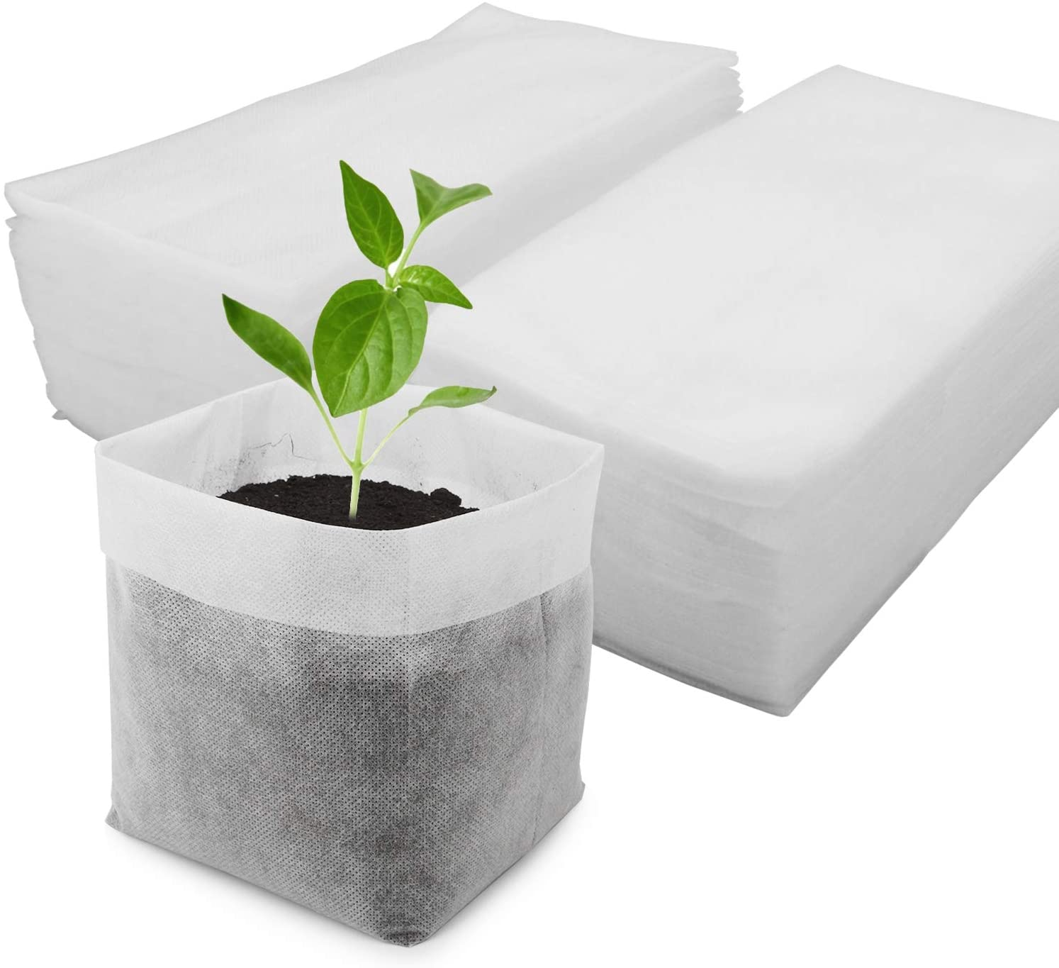 Large Plant Grow Bags, Degradable Non-Woven Plant Seedling Bags Fabric Pots for Seedling