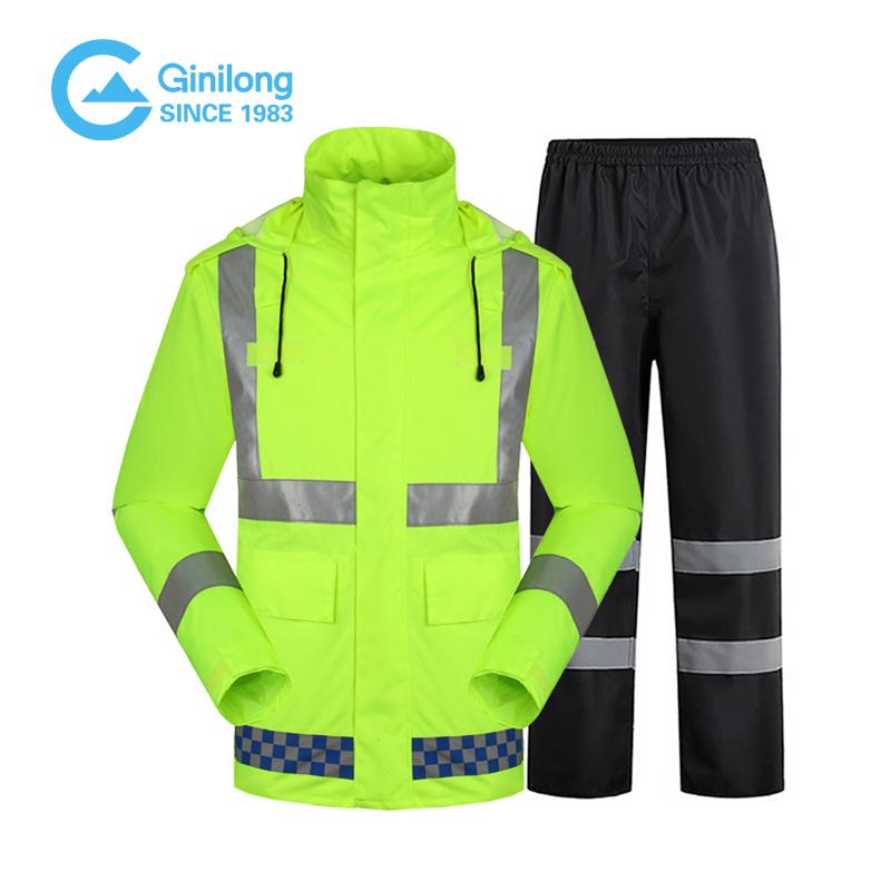 Светоотражающие дождевики с высокой видимостью, разумная цена, логотип на заказ, искусственная кожа, Оксфорд, оптовая продажа, дорожная рабочая одежда, одежда для активного отдыха, велоспорта, Спортивная безопасная одежда