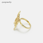 Ring Gold Rings Romantic White Cz Butterfly Ring 18k Gold Plated Butterfly Ring
