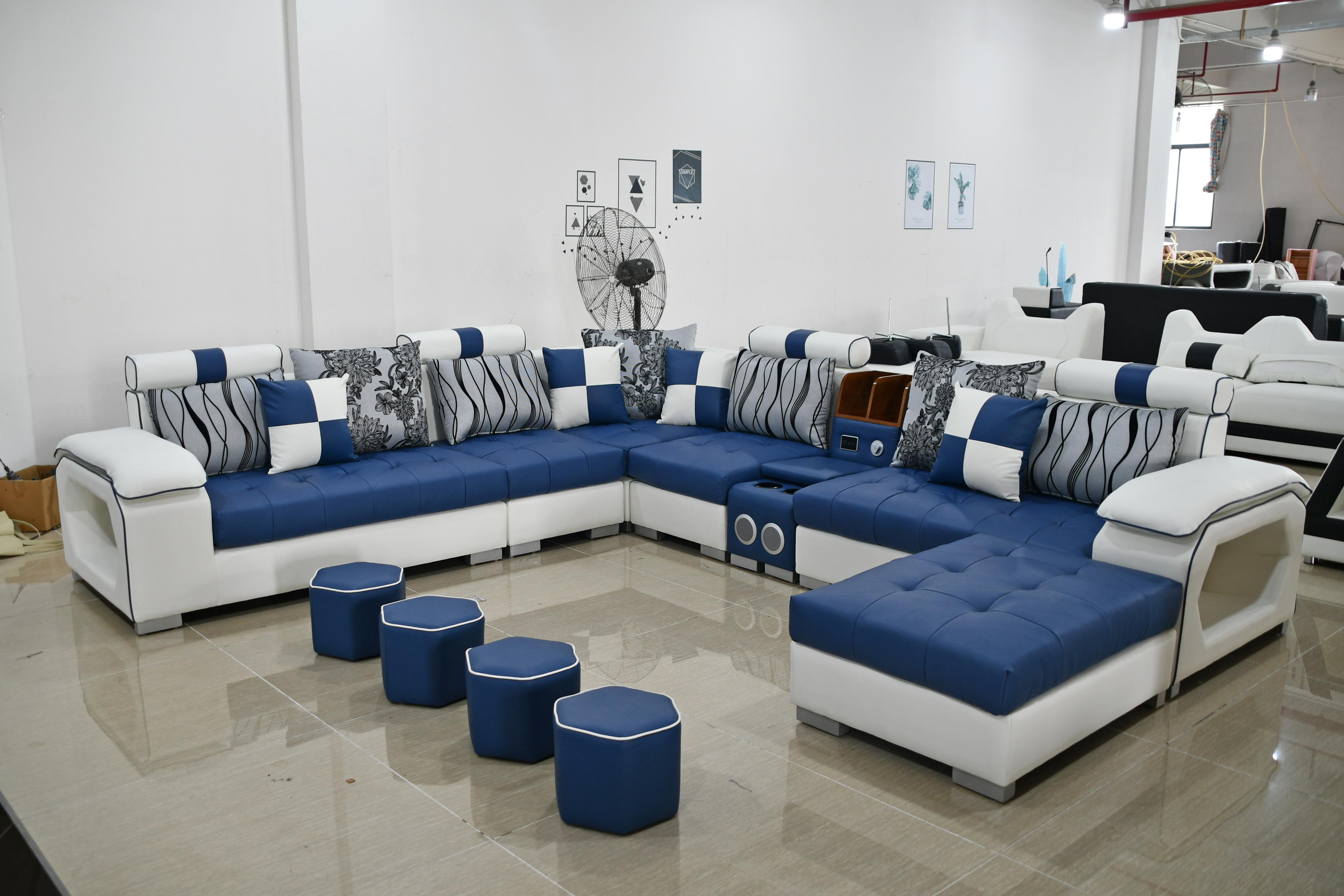 Современный набор кожаных диванов, мебель для гостиной, диваны, секции с аудиодинамиком
