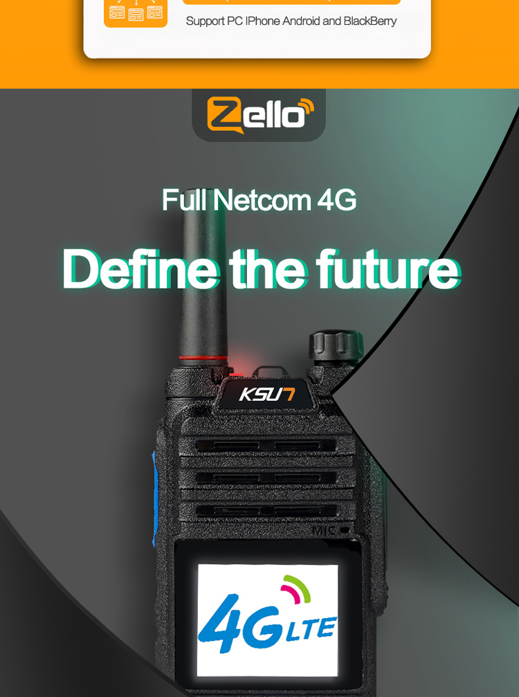 High Quality Android SIM Card 4G 3G 2G Walkie talkie WIFI BT POC Radio Long Range Walkie Talkies 200 Miles Zello Radios
