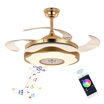 2021 Custom Home 42 Inches Bluetooth Speaker Led Ceiling Fans Bedroom Smart Retractable Luxury Crystal Bluetooth Ceiling Fans