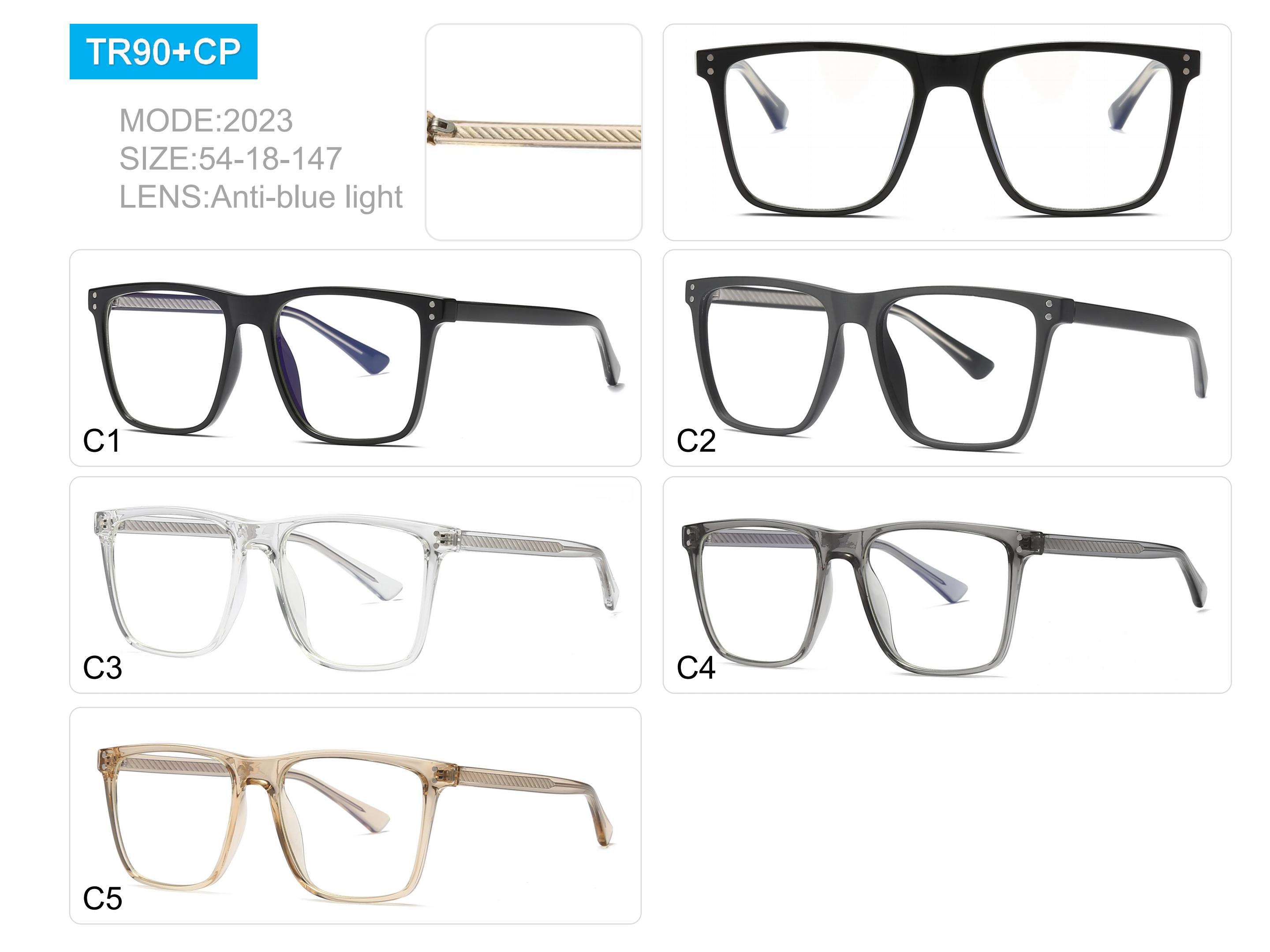 drop shipping hot selling unisex TR90 in stock rectangle RTS anti blue light rxable prescription optical glasses