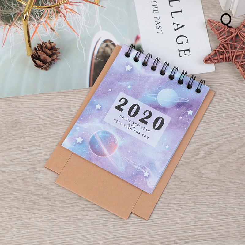 2020 свежий мультяшный мини Фламинго Настольный бумажный календарь ручной рисунок двойной ежедневный планировщик настольный планировщик го...(Китай)