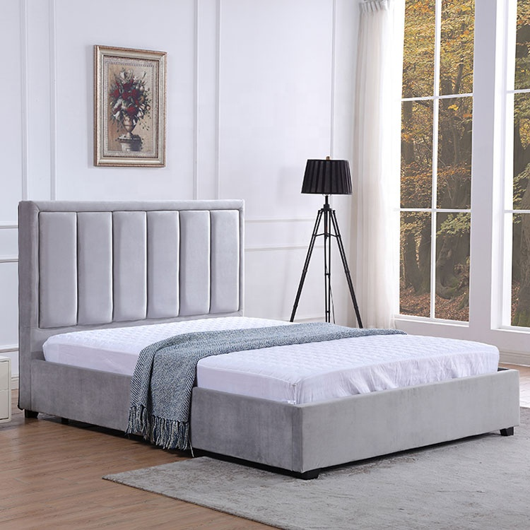 Simple design king size velvet grey double bed frame