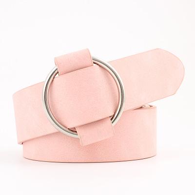D1686 Hot Sale Women Leisure Jeans Wild Metallic Round Leather Buckle Belt