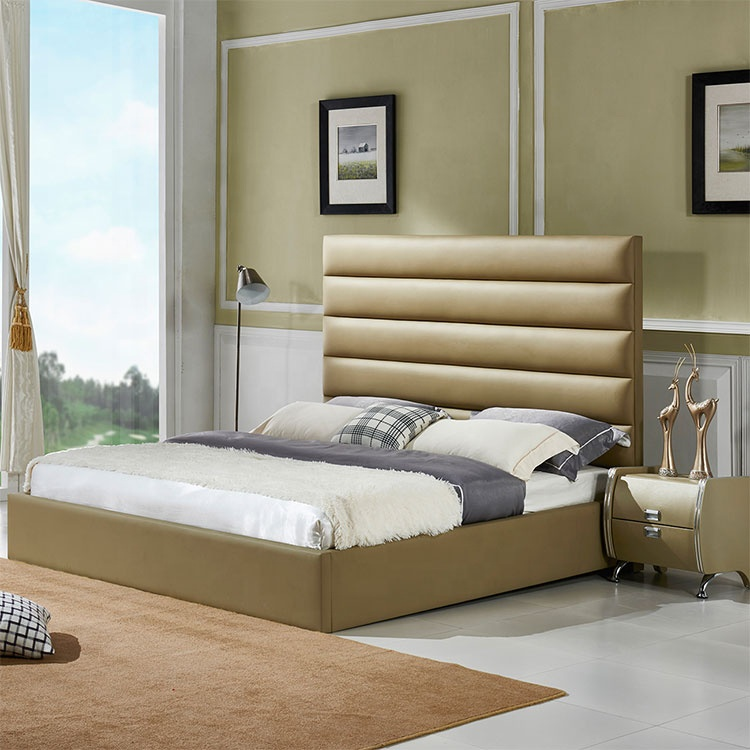 Cheap and affordable king size family home gold comfortable high quality leather bed