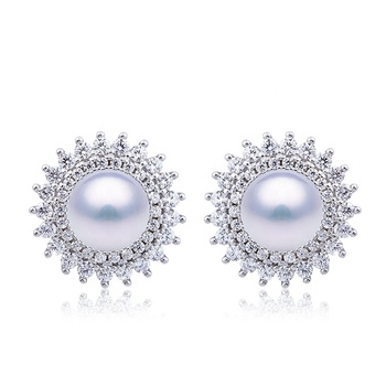 Sharon Design Top Quality Jewelry Set Sterling Silver Flower Shape Freshwater Pearl Stud Earrings