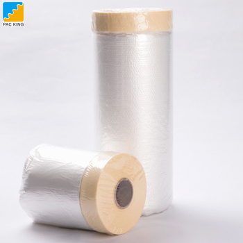 Clear Hdpe Overspray Covering Automotive Glass Masking Protective Auto Paint Pretaped Plastic Painting Masking Film Tape