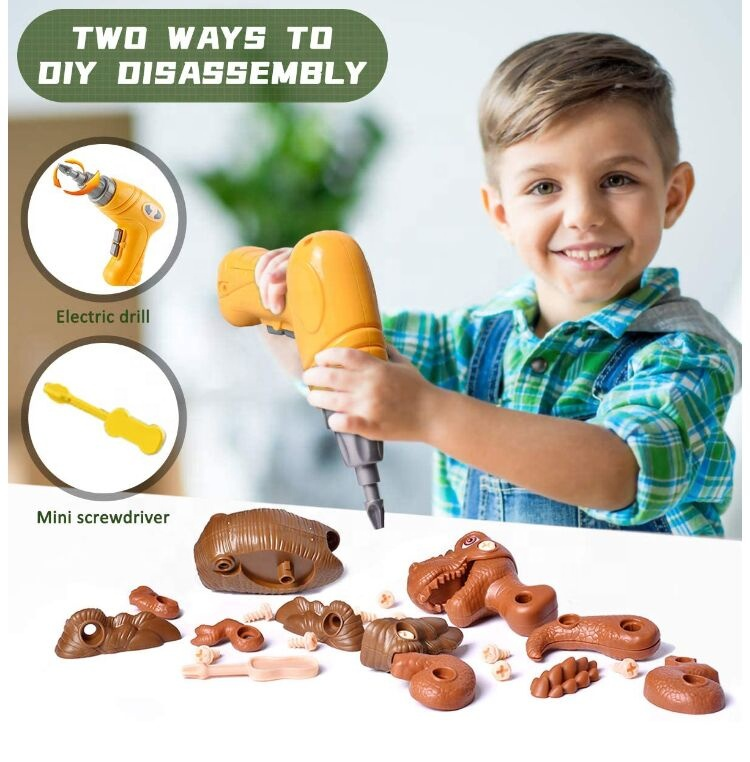 DIY Take Apart Dinosaur Toys for Kids, Assembly Dinosaur Play Set Kids Learning Toys with Electric Drill for Boys and Girls