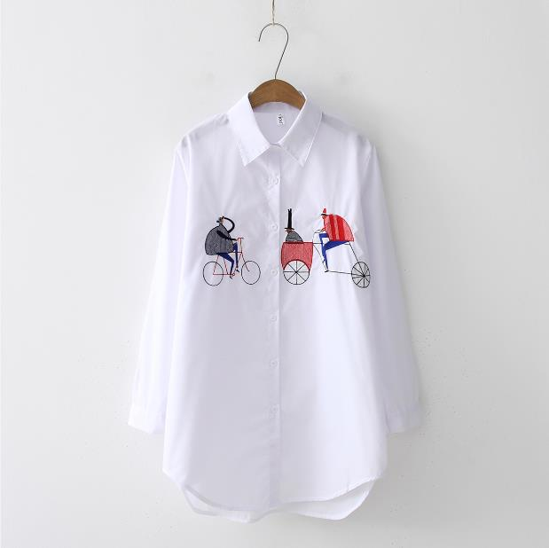 Custom Logo OEM White Shirt Casual Wear Button Up Turn Down Collar Long Sleeve Cotton Blouse Embroidery Feminina HOT Sale