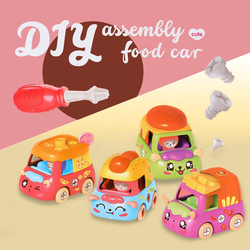 DIY Colorful Cute Mini Assembly Plastic Carton Food Car Toy  for Kids