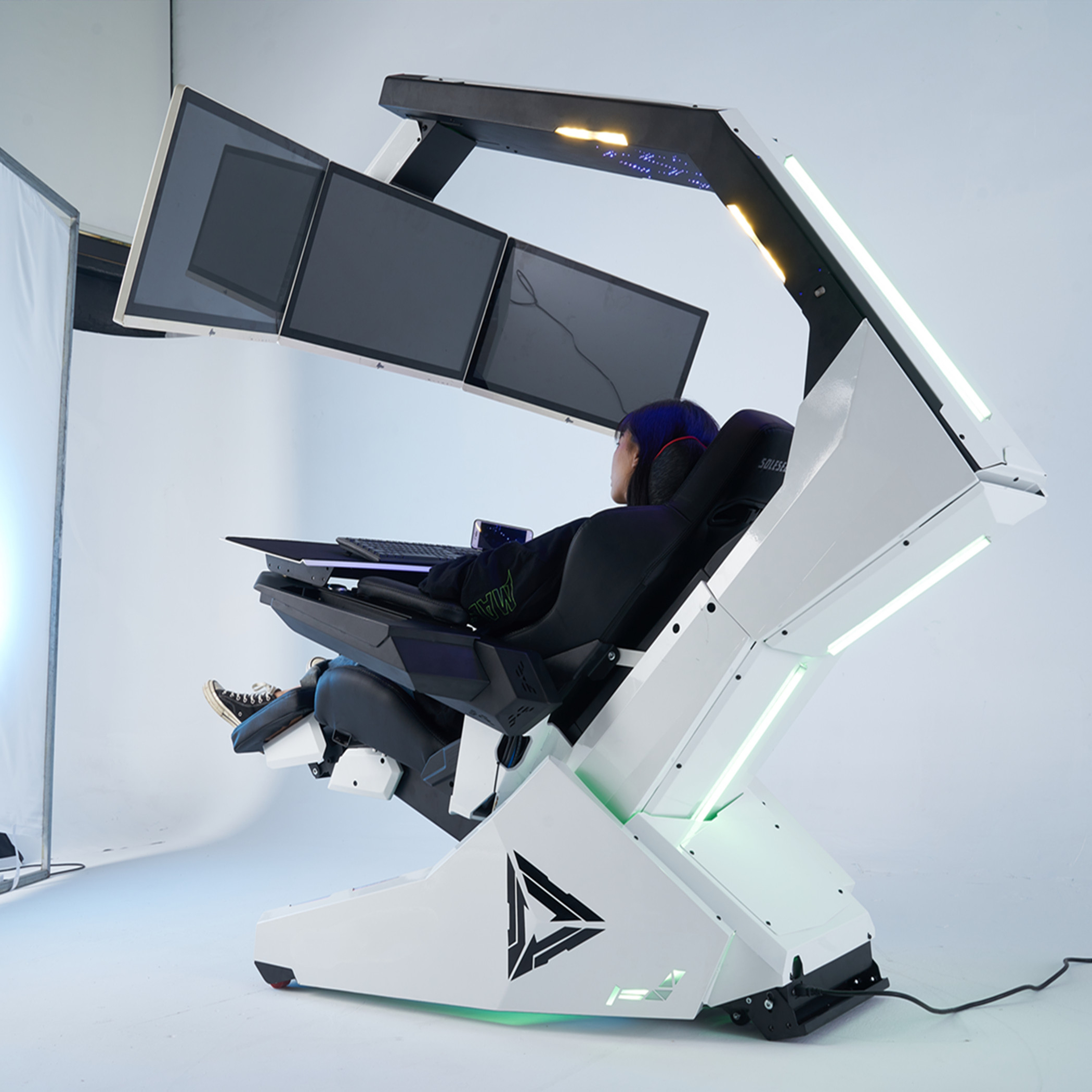 luxury high tech recline PC gaming chair with massage,Rolls Royce Stary ceiling RGB, for 3 screens R1-Pro Imperator works brand