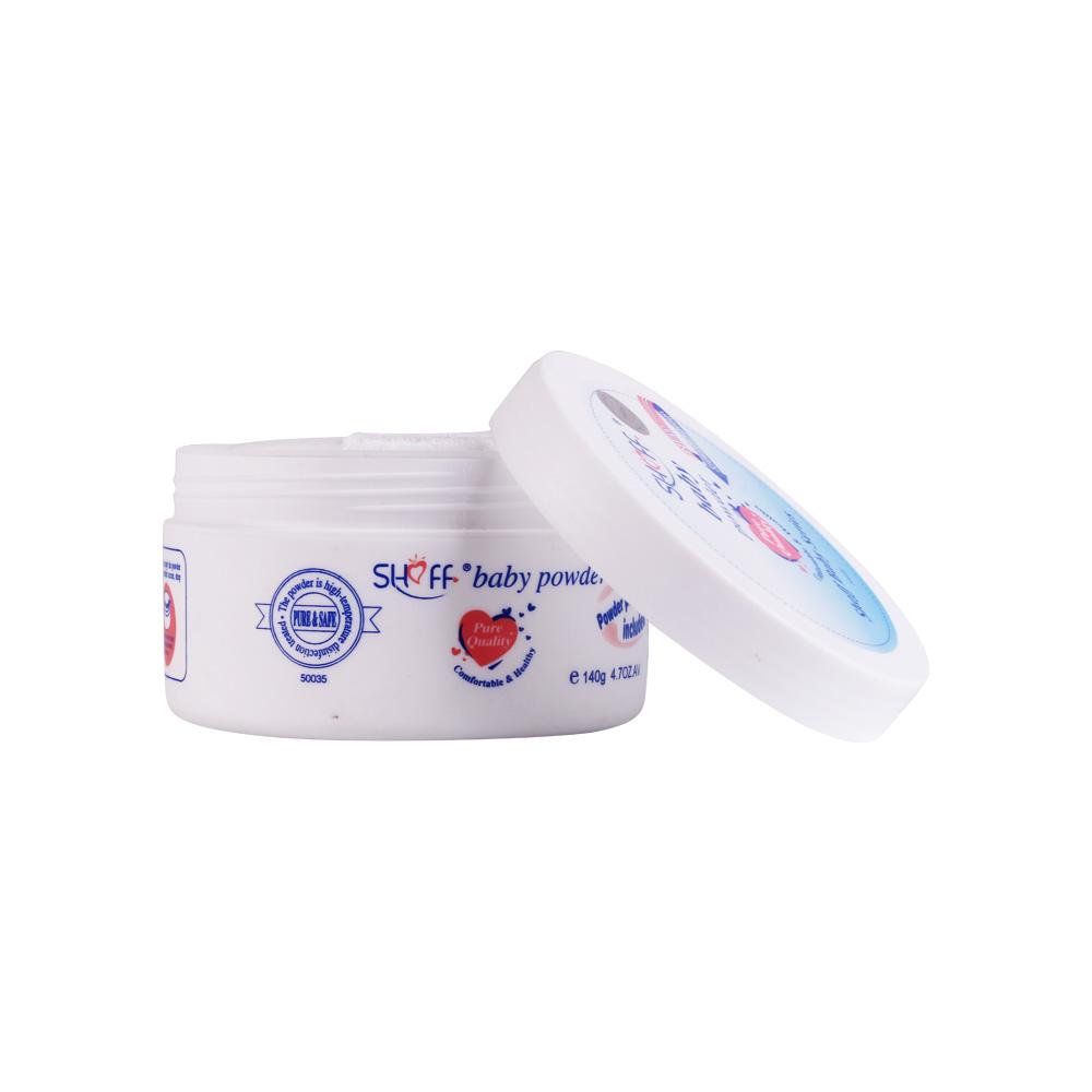 SHOFF Baby Talcum Powder puff Medicated Protecting Powder with Zinc Oxide & Cornstarch, 5 oz 140g