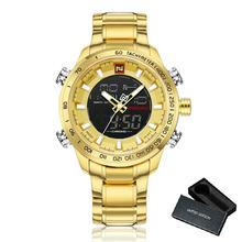 NAVIFORCE водонепроницаемые кварцевые часы для мужчин Топ бренд класса люкс двойной дисплей цифровые часы мужские золотые стальной ремешок арм...(Китай)