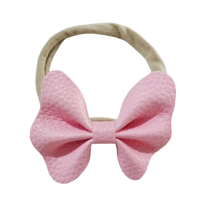 kids girls bows bows leather headband baby Headband Pink leather Bow Nylon Headband hair accessories