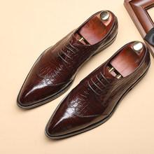 Phenkang/мужская деловая обувь; Мужские оксфорды из натуральной кожи; Цвет Черный; Модель 2020 года; Обувь под свадебное платье в деловом стиле; Ко...(Китай)