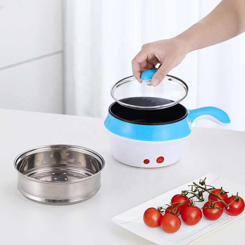 Portable electric steamer small power kitchen electric wok soup pot with steamer