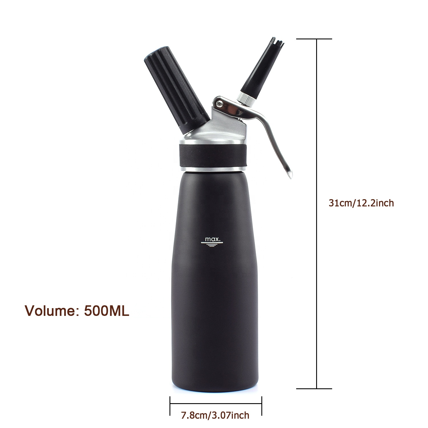 OEM Factory Aluminum 500ml Whipped Cream Siphon with Silicon Grip