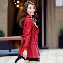 6XL кожаные куртки модные черные кружевные юбки пальто средней длины тонкая женская кожаная куртка женская красная Искусственная овчина пал...(Китай)
