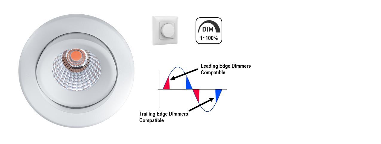 2700K 7.6W 1-Way Tiltable COB Dimmable LED Downlight White 5 Years Warranty 220~240V Spot Light