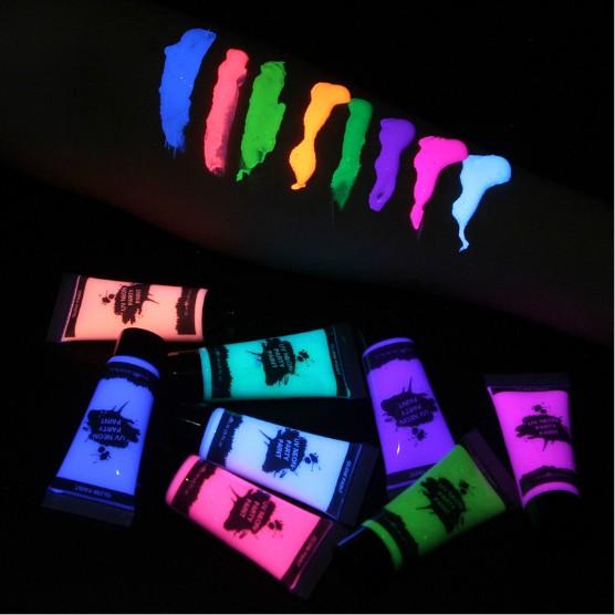 Неоновый бодиарт 8 видов цветов свечение темные, костюм на Хэллоуин, маскарадный костюм Неон УФ краска для тела
