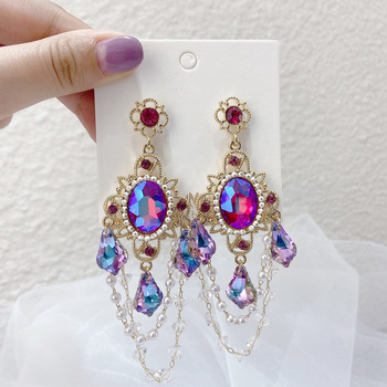 Kaimei 2021 retro palace rose pink noble purple colorful refraction laser crystal oval seed beaded shinny clear crystal earrings