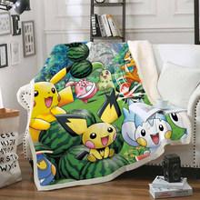 Одеяло с забавным персонажем Покемон Пикачу, 3D принт, шерпа, одеяло на кровать, домашний текстиль, стиль мечты 14(Китай)