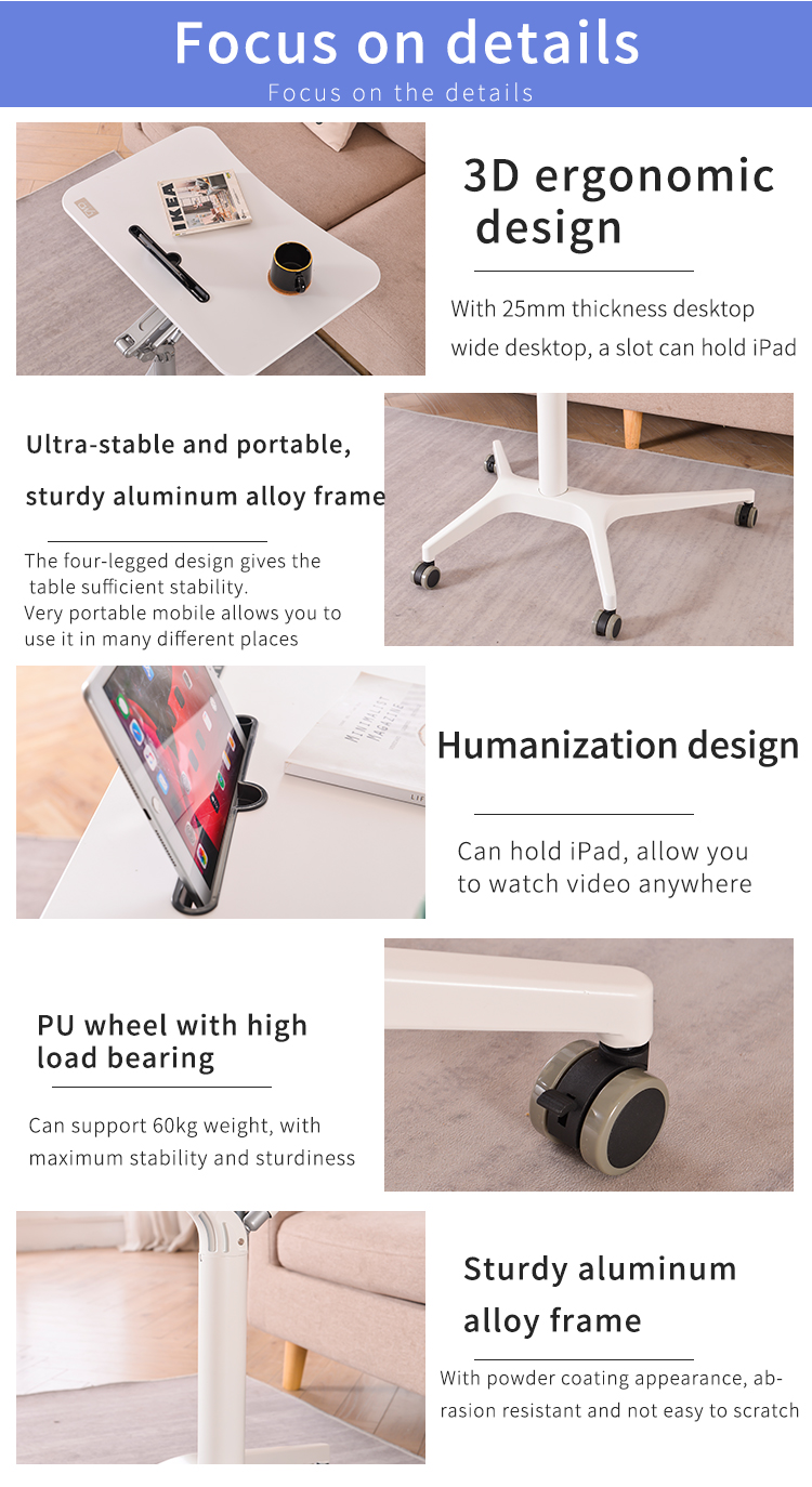 Gas lifting single column height adjustable sit standing mobile computer and laptop desk