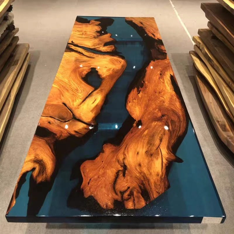 Epoxy resin table top 6ft*3ft with kiln-dried tree slab sea beach design River Table