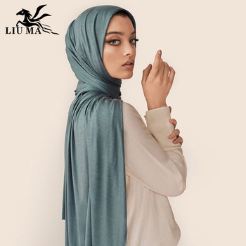 LM High Quality Jersey Hijab Scarves Elastic Material Stretchy Wrap shawl Prayer Cotton Jersey Scarves Hijab