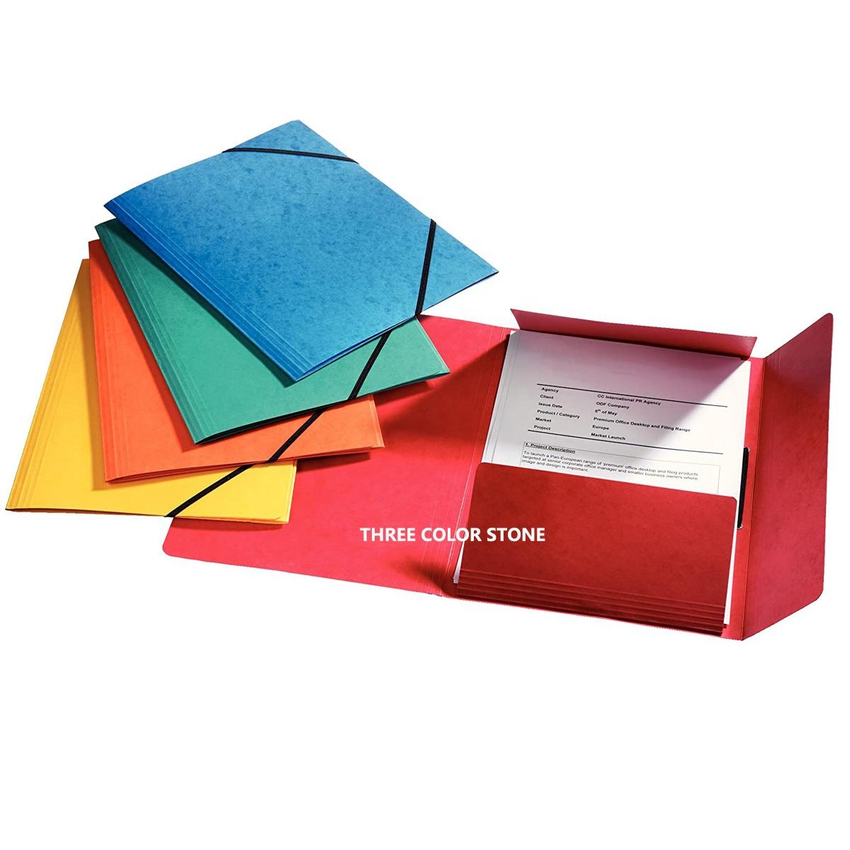 High Quality Handmade Elastic-banded Closure 3 flap file folder