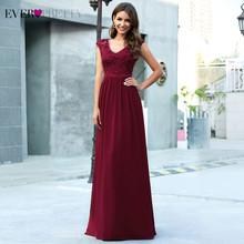 Бордовые вечерние платья Ever Pretty EP00622BD, а-силуэта, с v-образным вырезом, с кружевной вышивкой, без рукавов, элегантные вечерние платья(Китай)