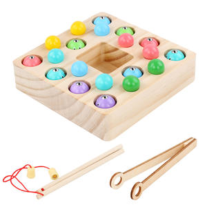Multicolor Beads 2 in 1 Magnetic Table Game Children Educational Digital Wooden Fishing Toy