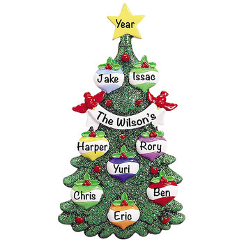 indoor polyresin christmas decoration Personalized Green Glitter Tree Family of 8 Ornament for Parents, Kids, Grandparents
