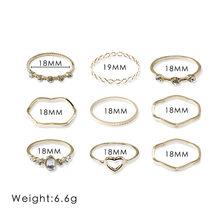 Простое новое кольцо с полым сердцем в европейском и американском стиле, Геометрическая волна, 9 шт., кольцо, Индивидуальные ювелирные издел...(Китай)