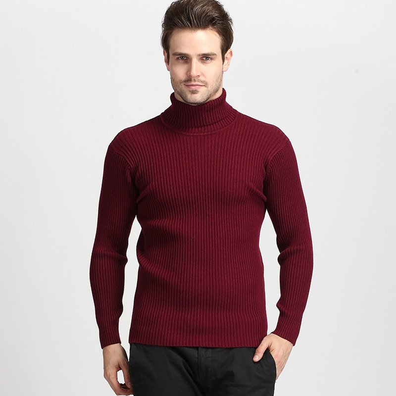 2020 winter fashion custom turtle neck knitted male hombre mens gents Rib pullover knitting sweater for red
