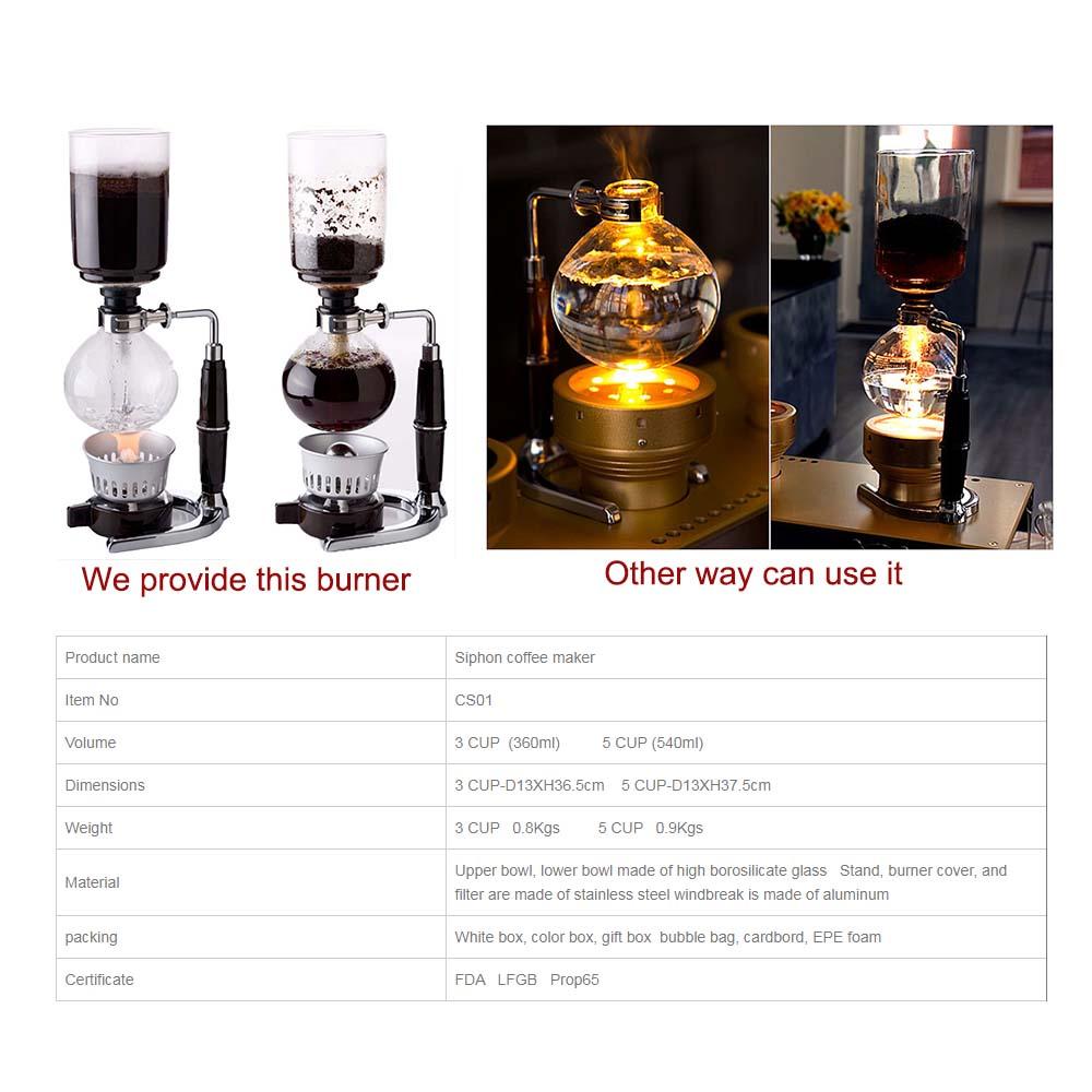 Горячая Распродажа, боросиликатное стекло, 3 чашки, сифон, Кофеварка