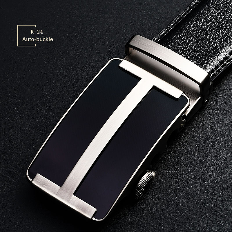 Fashion Genuine Leather Men Black Alloy Automatic Buckles Belt For Men