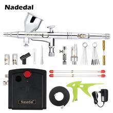 Мини-Аэрограф Nasedal, комплект с компрессором для аэрографа двойного действия, пистолет для нейл-арта, машина для нанесения краски, модель мак...(Китай)
