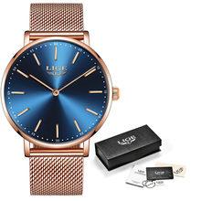 Женские часы 2020 LIGE Лидирующий бренд Роскошные дамские модные повседневные стальные ультра-тонкие сетчатые кварцевые часы Relogio Feminino + коробк...(Китай)