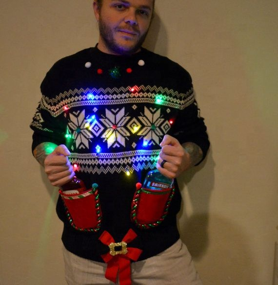 Custom knitted acrylic ugly christmas led sweater funny deer christmas sweater with led lights christmas jumper with led lights