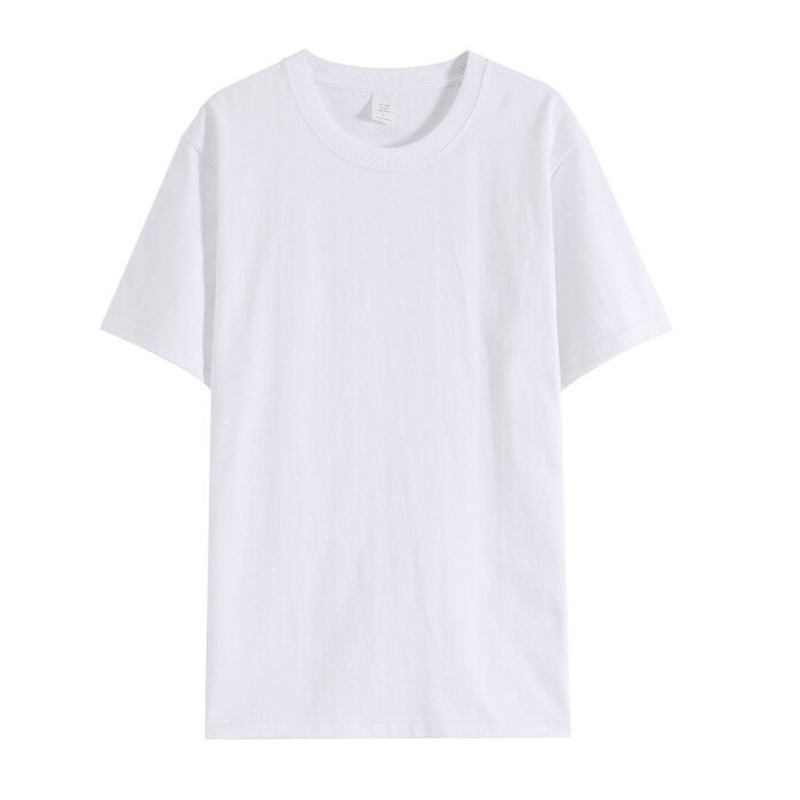 Solid combed cotton heavyweight loose top blank short sleeve t-shirt men's summer