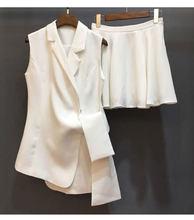 Женский офисный пиджак, элегантный модельный пиджак без рукавов, черный, белый, красный костюм для работы, лето-осень(Китай)