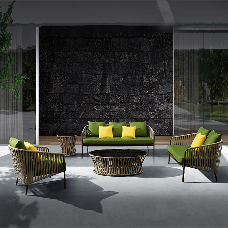 Высококачественная современная плетеная веревка для отдыха, комплект садовой мебели для патио, бистро