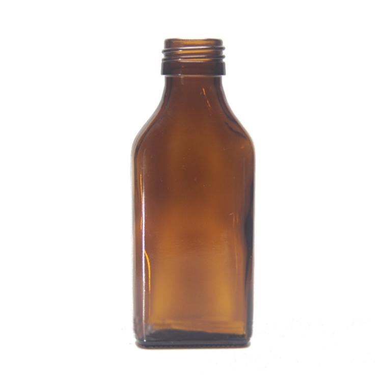 100 мл янтарная плоская квадратная стеклянная бутылка для эфирного масла сироп стеклянная бутылка