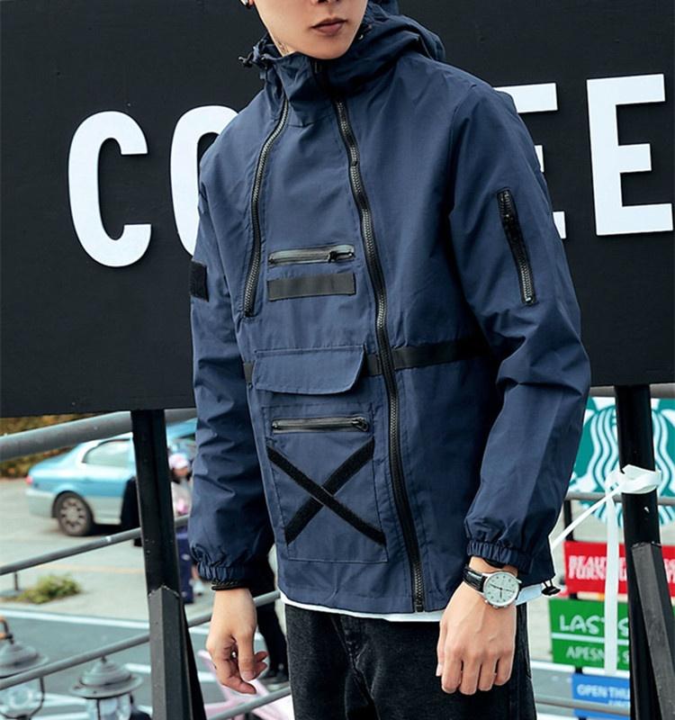 Оптовая продажа, модная мужская куртка большого размера на молнии, нейлоновая ветрозащитная куртка с капюшоном