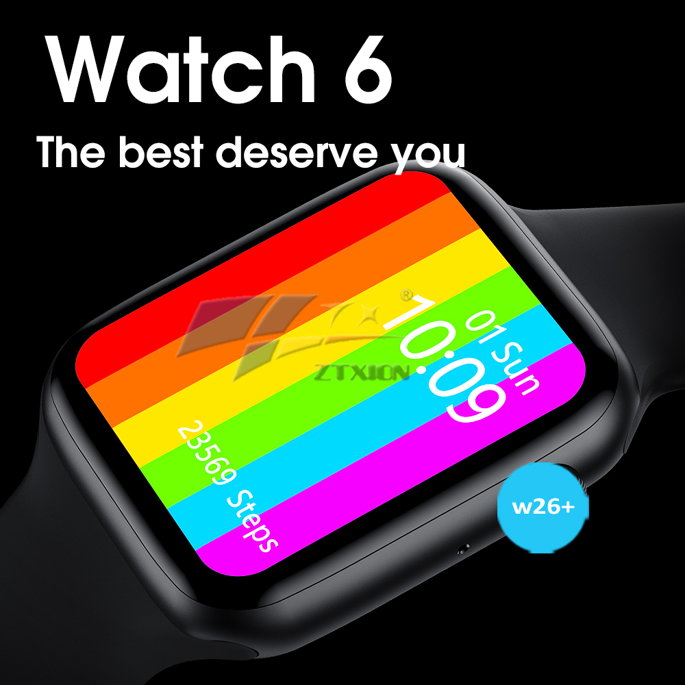 2021 Hot selling W26+ Series 6 Smart watch 1.75 inch  Fitness Tracker w26+ Smartwatch IP68 Waterproof with Rotate button